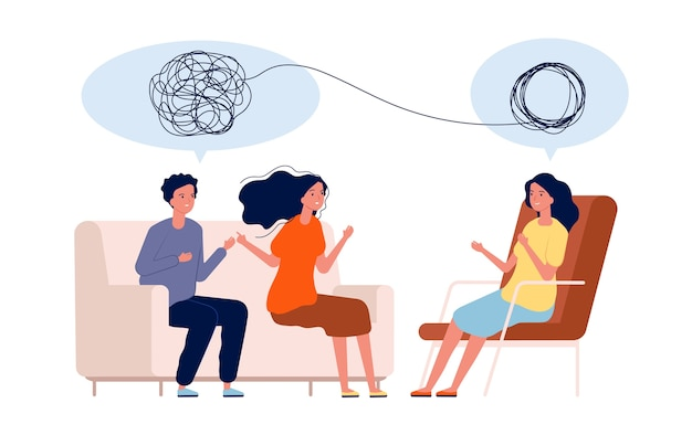 医者は患者を助けます。精神的な治療の問題の心理学の概念。イラスト心理学カップル治療、心理療法ヘルプ Premiumベクター