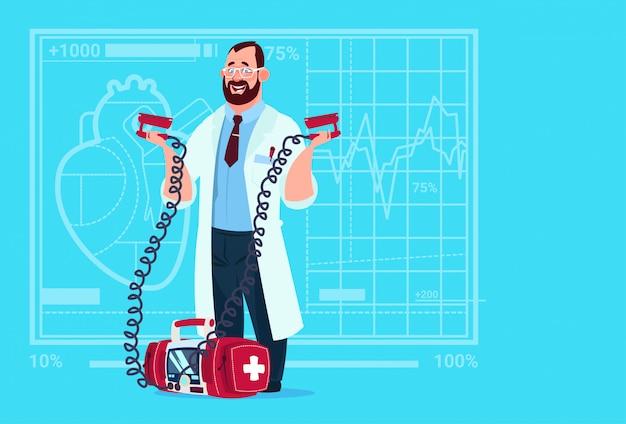 Doctor hold defibrillator medical clinics worker reanimation hospital Premium Vector