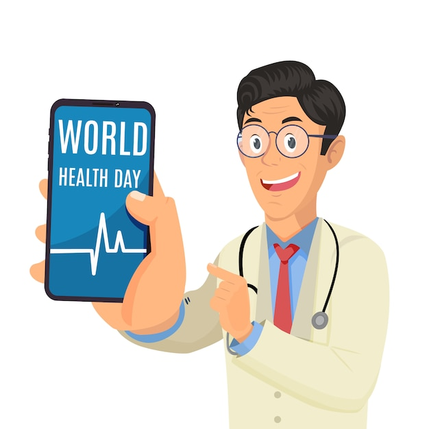Doctor holding phone and showing words world health day Premium Vector