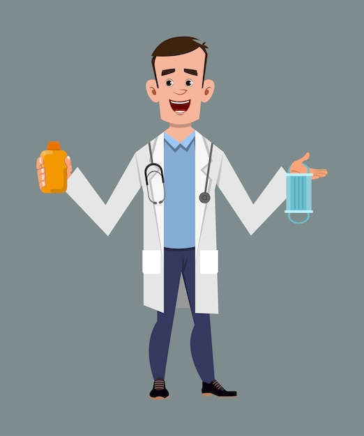 Doctor holding and showing sanitizer gel bottle and face mask Premium Vector
