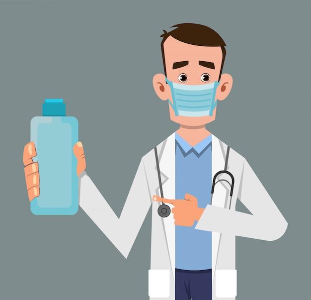 Doctor holding and showing sanitizer gel bottle Premium Vector