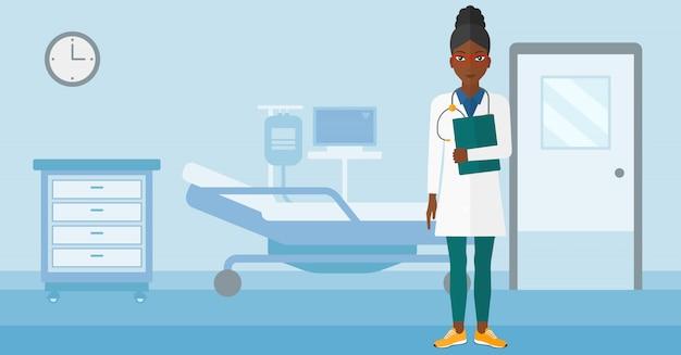 Doctor in hospital ward. Premium Vector