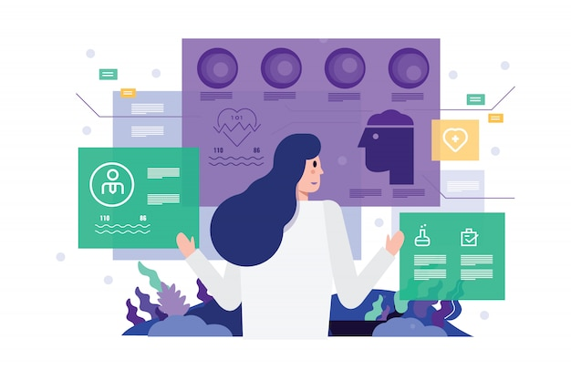 Doctor at hospital working on modern virtual screen interface. Premium Vector