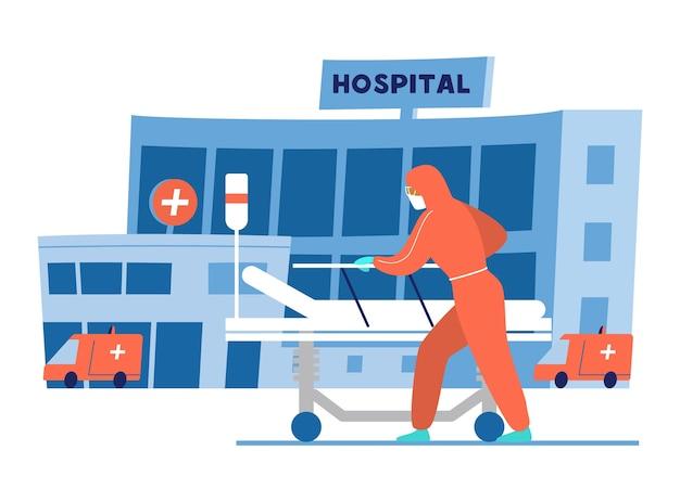 Врач в защитной одежде с пустой медицинской кроватью перед зданием больницы. иллюстрация. Premium векторы