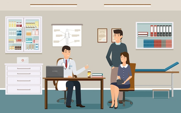 Врач в форме дает двум пациентам лекарственные препараты. семья на консультации врача в кабинете поликлиники. Premium векторы