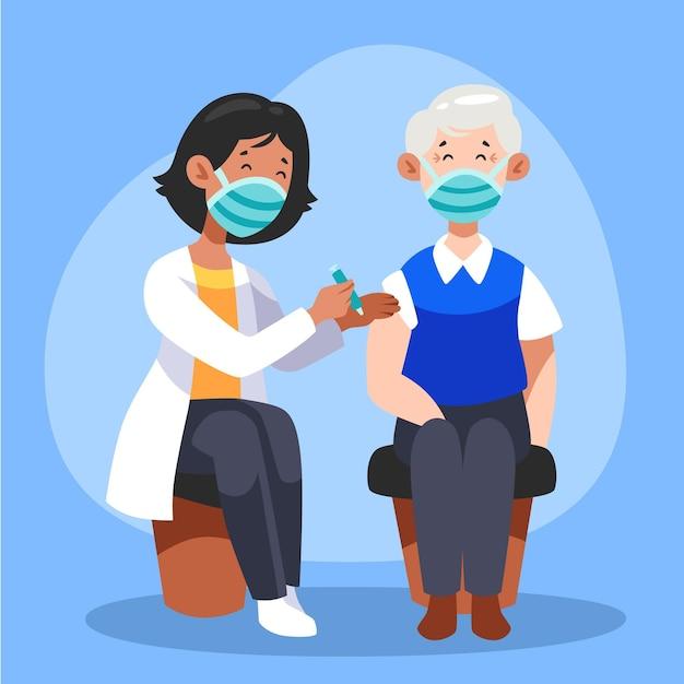 Medico che inietta il vaccino a un paziente in clinica Vettore gratuito