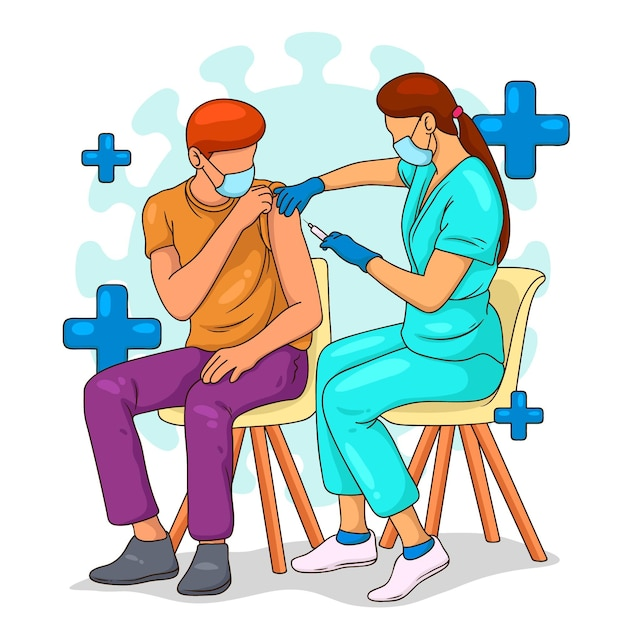 医師が患者にワクチンを注射する 無料ベクター