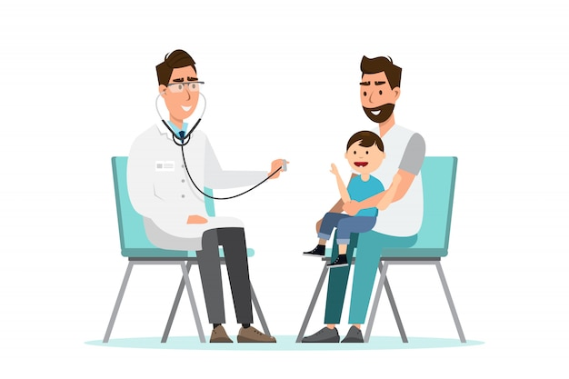 Doctor listens to breathing statoscope for kid who sit on his father's lap Premium Vector
