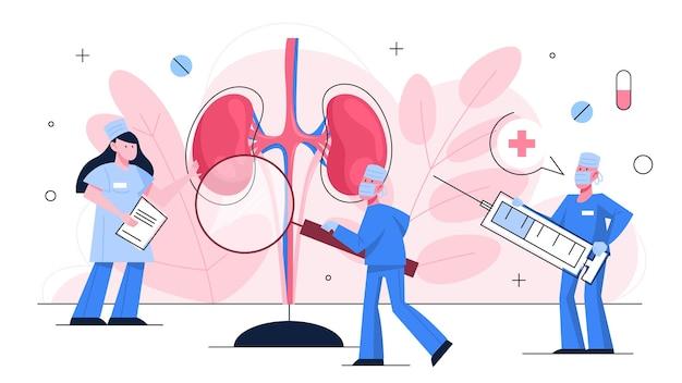 Врач делает обследование почек. идея лечения. урология, внутренний орган человека. здоровое тело. Premium векторы
