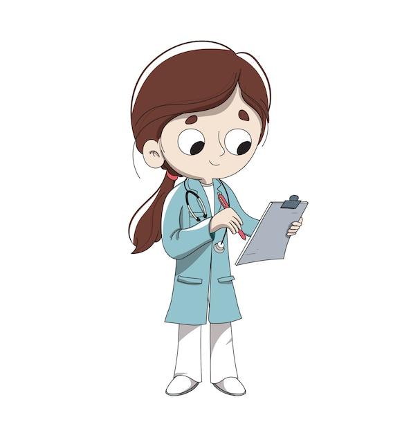 Doctor making a diagnosis Premium Vector