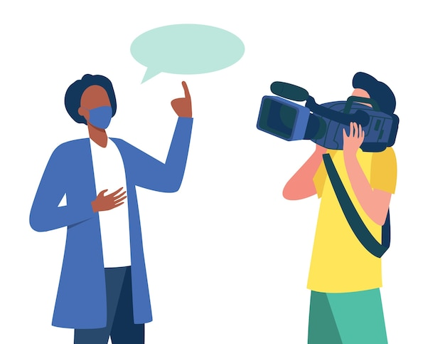 Doctor in medical coat and mask speaking at camera. scientist, operator, cameraman flat illustration. Free Vector