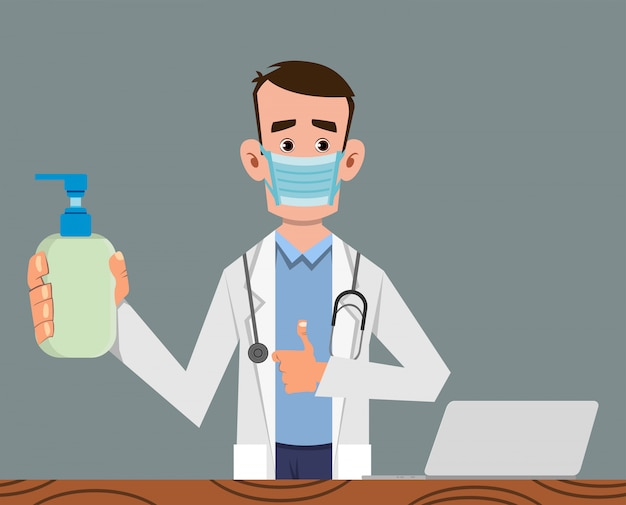 Doctor in medical and disinfectant bottle to prevent from coronavirus Premium Vector
