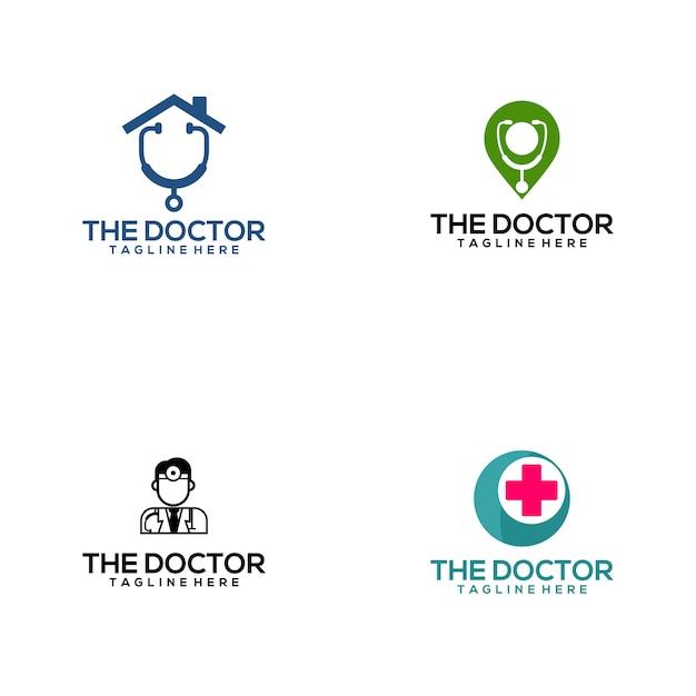 Doctor medical logo collection Premium Vector