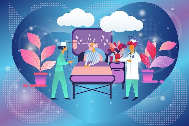 Doctor and nurse in chamber visit senior patient Premium Vector
