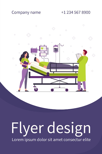 Doctor and nurse giving medical care to patient in bed isolated flat flyer template Free Vector