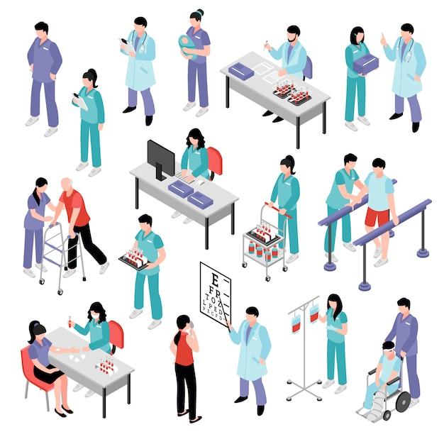 Doctor nurse hospital isometric set Free Vector