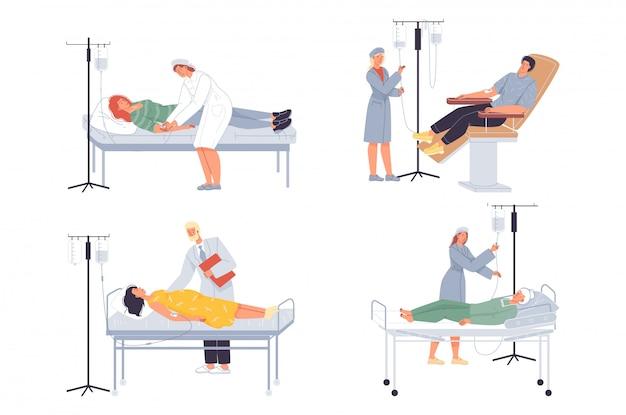 Doctor nurse put dropper to patient medical set Premium Vector