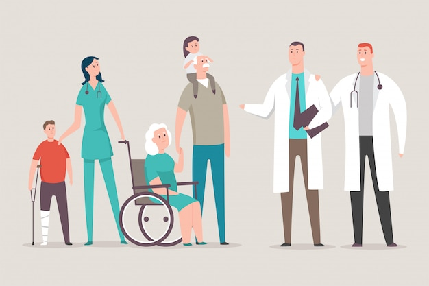 Doctor and nurse with patients vector cartoon character isolated on background. Premium Vector