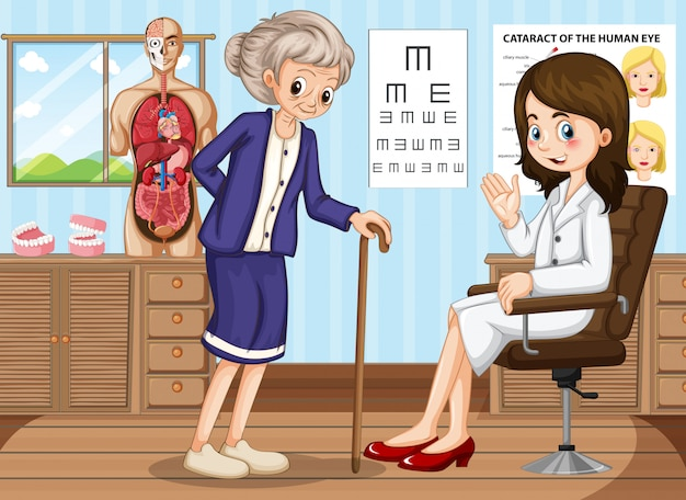 Doctor and old woman in clinic Premium Vector