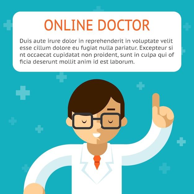 ターコイズブルーの背景でオンラインの医者。アドバイスと治療、適応症とレシピ。ベクトルイラスト 無料ベクター
