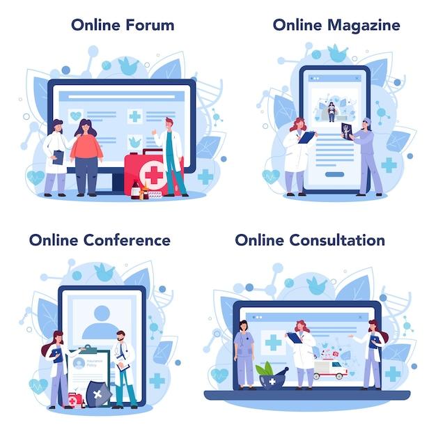 医師のオンラインサービスまたはプラットフォームセット。ヘルスケア、現代医学の治療、専門知識、診断。オンラインフォーラム、雑誌、会議、相談 Premiumベクター