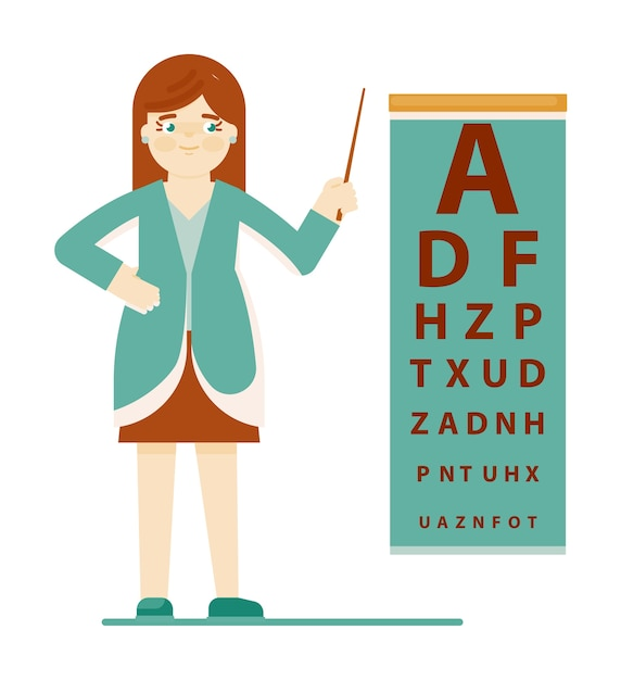 Doctor ophthalmologist. doctor ophthalmologist specialist pointing to eye test chart isolated on white background. vision health care and scheduled examination illustration Premium Vector