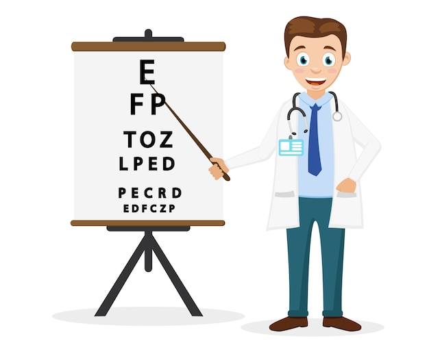 Doctor ophthalmologist shows a pointer to the text on a white background. eye examination. Premium Vector