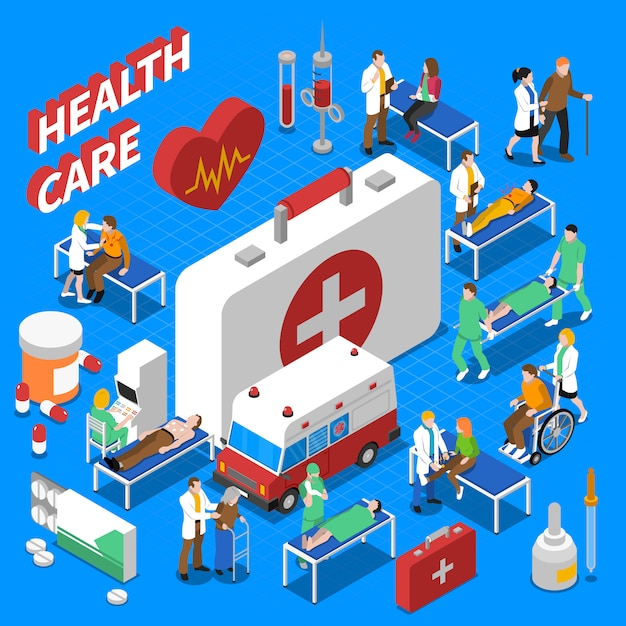 Doctor patient communication isometric composition poster Free Vector