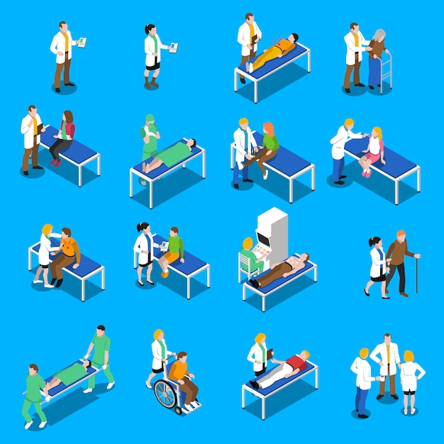 Doctor patient communication isometric icons set Free Vector