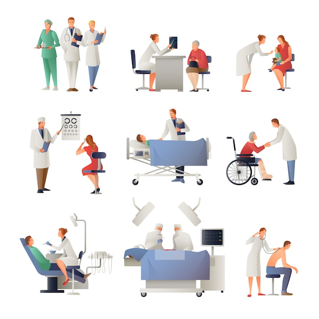 Doctor and patient flat icons set Free Vector