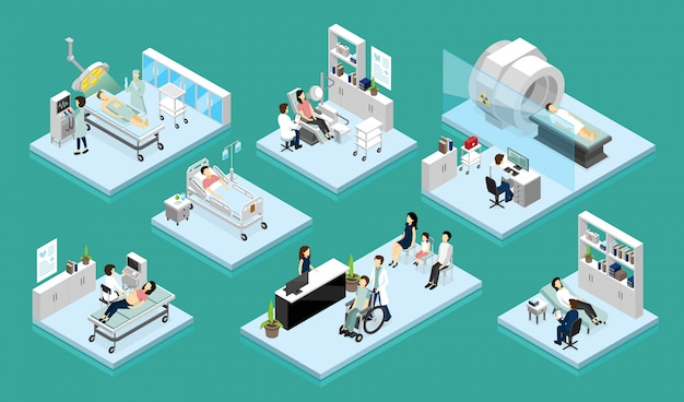 Doctor and patient isometric compositions Free Vector