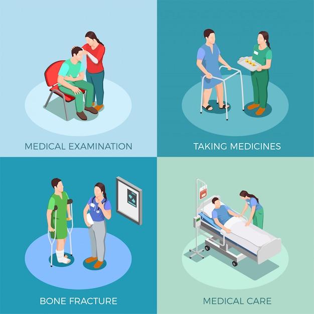 Doctor patient isometric design concept Free Vector
