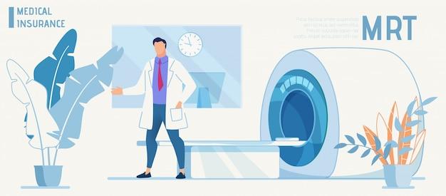 Doctor presents modern equipment for mrt diagnosis Premium Vector