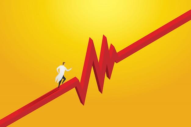 生命の患者を救うためにパルスラインを急いでいる医者。概念医療イラスト Premiumベクター
