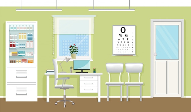 Doctor's consultation room interior in clinic. empty medical office design. hospital working in healthcare concept. vector illustration. Premium Vector