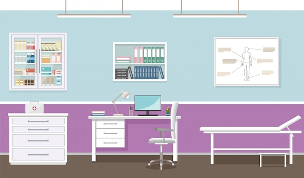 Doctor's consultation room interior in clinic. empty medical office design. hospital working in healthcare .  illustration. Premium Vector