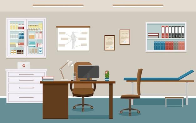 Интерьер кабинета врача в клинике. пустой медицинский кабинет дизайн. больница работает в сфере здравоохранения. Premium векторы