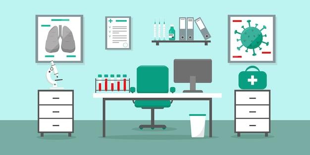 Кабинет врача в клинике или больнице со столом врача и медицинским оборудованием. лаборатория вирусных тестов. медицинский интерьер иллюстрации. Premium векторы