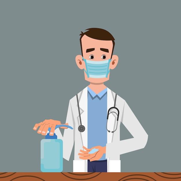 Doctor sanitizing hands with gel Premium Vector