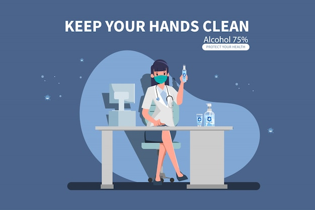 Doctor show hand sanitizer hand gel with alcohol in laboratory room.  illustration of flat design people characters. Premium Vector