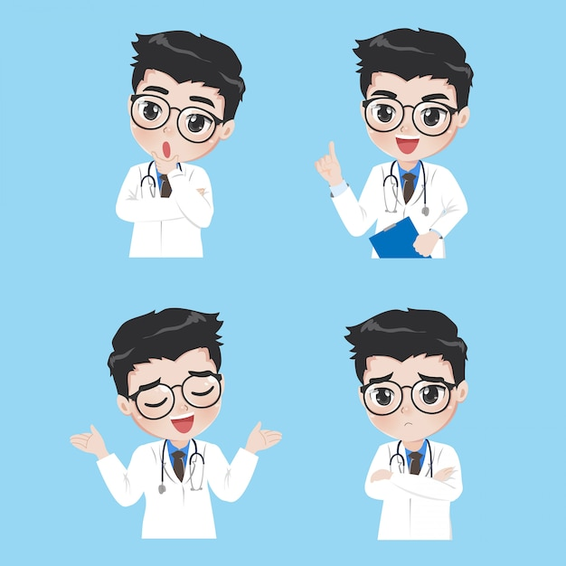 Doctor show a variety of gestures and actions in work clothes. Premium Vector