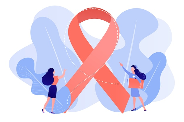 女性患者に乳がん啓発リボンを見せている医師。乳がん、女性の腫瘍学因子、乳がん予防の概念。ピンクがかった珊瑚bluevectorベクトル分離イラスト 無料ベクター