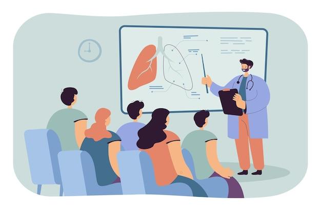 학생 평면 그림에 폐를 보여주는 의사. 무료 벡터
