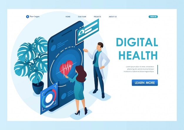 Doctor shows the doctor showshow to use the application to maintain health. health care concept. 3d isometric. landing page concepts and web design Premium Vector