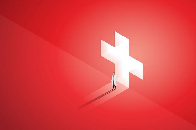 医者は壁に輝く医療の前に立ち、光が落ちると穴の暗赤色。図 Premiumベクター