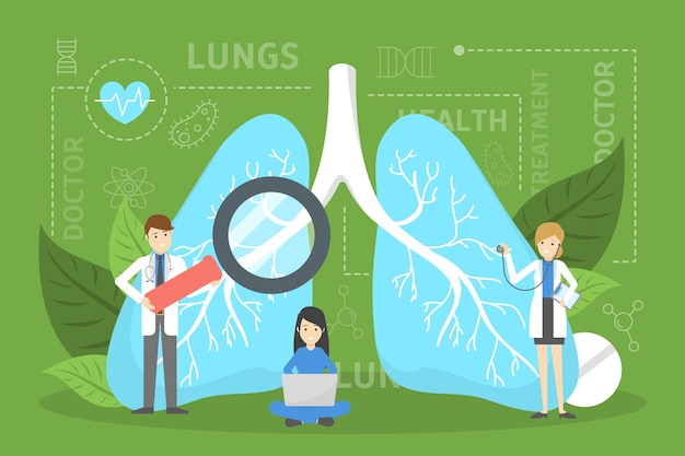 Doctor standing at big lungs. idea of health Premium Vector
