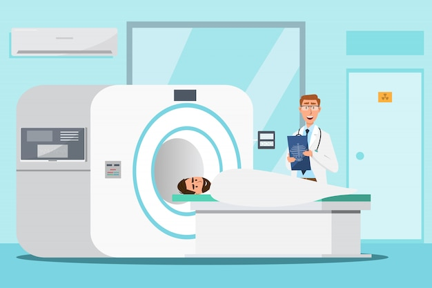 Doctor standing and man lying down for x-ray with mri scanner machine Premium Vector