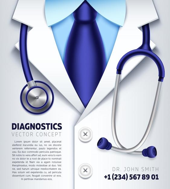 Doctor stethoscope background medical diagnostics concept. medical banner for hospital Premium Vector