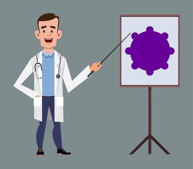 Doctor talking about covid-19 or coronavirus Premium Vector