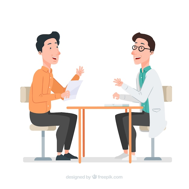 Doctor talking to patient Free Vector